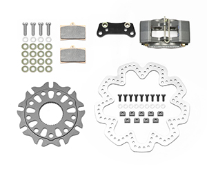 Wilwood GP320 Sprint Right Rear Brake Kit Parts Laid Out - Black Anodize Caliper - Drilled Rotor