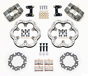 Wilwood GP320 Midget Front Brake Kit Parts Laid Out - Type III Ano Caliper - Drilled Rotor