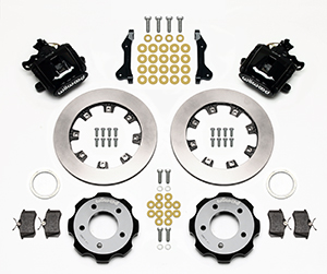 Wilwood Combination Parking Brake Caliper Rear Brake Kit Parts Laid Out - Black Powder Coat Caliper - Plain Face Rotor