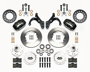 Wilwood Forged Dynalite Pro Series Front Brake Kit Parts Laid Out - Black Powder Coat Caliper - Plain Face Rotor