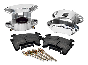 Wilwood D154 Front Caliper Kit Parts Laid Out - Polish Caliper