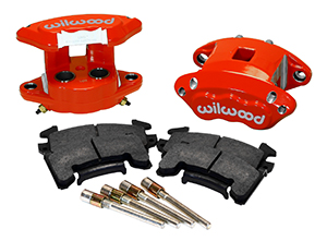 Wilwood D154 Rear Caliper Kit Parts Laid Out - Red Powder Coat Caliper