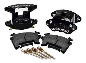 Wilwood D154 Rear Caliper Kit Parts Laid Out - Black Powder Coat Caliper