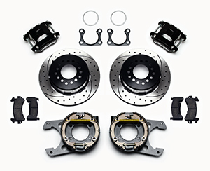 Wilwood D154 Rear Parking Brake Kit Parts Laid Out - Black Powder Coat Caliper - SRP Drilled & Slotted Rotor