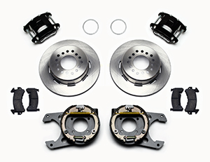 Wilwood D154 Rear Parking Brake Kit Parts Laid Out - Black Powder Coat Caliper - Plain Face Rotor