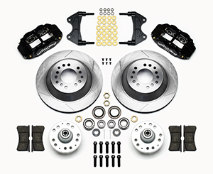 Wilwood Forged Narrow Superlite 6R Big Brake Front Brake Kit (Hub and 1PC Rotor) Parts Laid Out - Black Powder Coat Caliper - GT Slotted Rotor