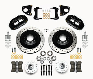 Wilwood Forged Narrow Superlite 6R Big Brake Front Brake Kit (Hub and 1PC Rotor) Parts Laid Out - Black Powder Coat Caliper - SRP Drilled & Slotted Rotor