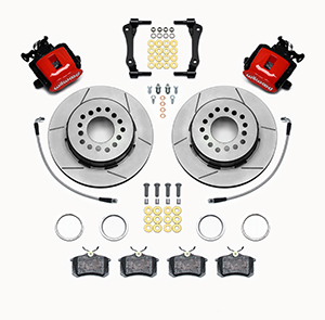Wilwood Combination Parking Brake Caliper 1Pc Rotor Rear Brake Kit Parts Laid Out - Red Powder Coat Caliper - GT Slotted Rotor