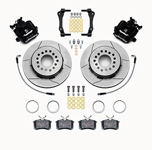 Wilwood Combination Parking Brake Caliper 1Pc Rotor Rear Brake Kit Parts Laid Out - Black Powder Coat Caliper - GT Slotted Rotor