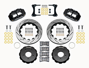 Wilwood Forged Narrow Superlite 6R Big Brake Front Brake Kit (Hat) Parts Laid Out - Black Powder Coat Caliper - SRP Drilled & Slotted Rotor