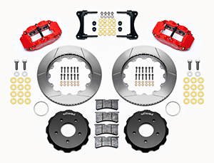 Wilwood Forged Narrow Superlite 4R Big Brake Front Brake Kit (Hat) Parts Laid Out - Red Powder Coat Caliper - GT Slotted Rotor