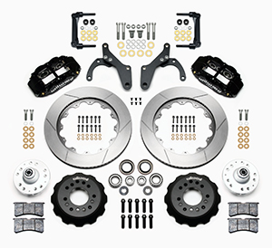 Wilwood Forged Narrow Superlite 6R Big Brake Front Brake Kit (Hub) Parts Laid Out - Black Powder Coat Caliper - GT Slotted Rotor