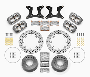 Wilwood Dynapro Dual SA Lug Drive Dynamic Rear Drag Brake Kit Parts Laid Out - Black Powder Coat Caliper - Drilled Rotor