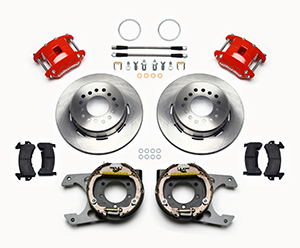 Wilwood D154 Rear Parking Brake Kit Parts Laid Out - Red Powder Coat Caliper - Plain Face Rotor