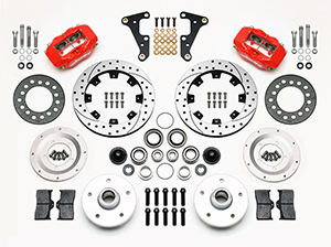 Wilwood Forged Dynalite Pro Series Front Brake Kit Parts Laid Out - Red Powder Coat Caliper - SRP Drilled & Slotted Rotor