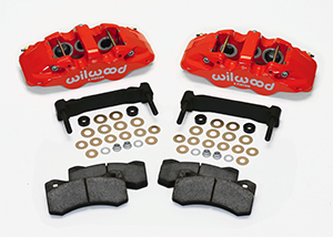 Wilwood AERO6 Front Caliper and Bracket Upgrade Kit for Corvette C5-C6 Parts Laid Out - Red Powder Coat Caliper