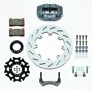 Wilwood Billet Narrow Dynalite Radial Mount Sprint Inboard Brake Kit Parts Laid Out - Nickel Plate Caliper - Slotted Rotor