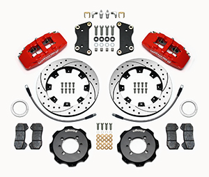 Wilwood Forged Dynapro 6 Big Brake Front Brake Kit (Hat) Parts Laid Out - Red Powder Coat Caliper - SRP Drilled & Slotted Rotor