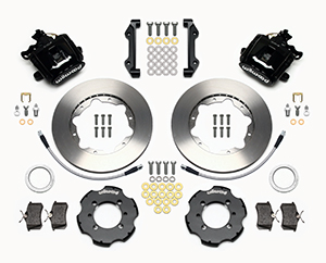Wilwood Combination Parking Brake Caliper Rear Brake Kit Parts Laid Out - Plain Face Rotor