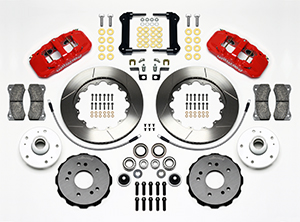 Wilwood AERO6 Big Brake Truck Front Brake Kit Parts Laid Out - Red Powder Coat Caliper - GT Slotted Rotor