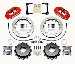 Wilwood Forged Narrow Superlite 4R Big Brake Rear Brake Kit For OE Parking Brake Parts Laid Out - Red Powder Coat Caliper - GT Slotted Rotor