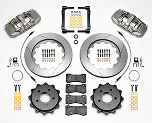 Wilwood AERO4 Big Brake Rear Brake Kit For OE Parking Brake Parts Laid Out - Nickel Plate Caliper - GT Slotted Rotor