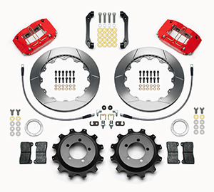 Wilwood Dynapro Radial Rear Brake Kit For OE Parking Brake Parts Laid Out - Red Powder Coat Caliper - GT Slotted Rotor