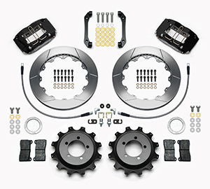 Wilwood Dynapro Radial Rear Brake Kit For OE Parking Brake Parts Laid Out - Black Powder Coat Caliper - GT Slotted Rotor