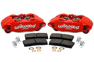 Wilwood Forged DPHA Front Caliper Kit Parts Laid Out - Red Powder Coat Caliper