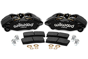 Wilwood Forged DPHA Front Caliper Kit Parts Laid Out - Black Powder Coat Caliper