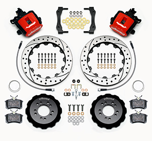 Wilwood Combination Parking Brake Caliper Rear Brake Kit Parts Laid Out - SRP Drilled & Slotted Rotor