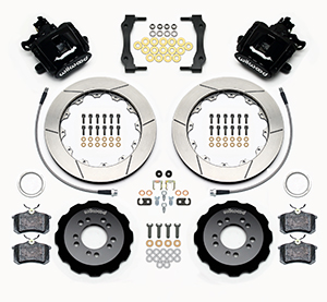 Wilwood Combination Parking Brake Caliper Rear Brake Kit Parts Laid Out - GT Slotted Rotor