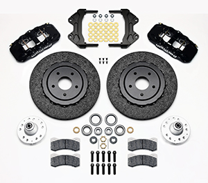 Wilwood AERO6 WCCB Carbon-Ceramic Big Brake Front Brake Kit Parts Laid Out - Black Powder Coat Caliper - Plain Face Rotor