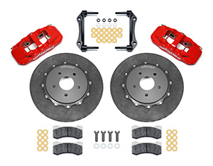 Wilwood AERO4 WCCB Carbon-Ceramic Big Brake Rear OE Parking Brake Kit Parts Laid Out - Red Powder Coat Caliper - Plain Face Rotor