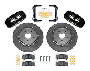 Wilwood AERO4 WCCB Carbon-Ceramic Big Brake Rear OE Parking Brake Kit Parts Laid Out - Black Powder Coat Caliper - Plain Face Rotor