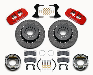 Wilwood AERO4 WCCB Carbon-Ceramic Big Brake Rear Parking Brake Kit Parts Laid Out - Red Powder Coat Caliper - Plain Face Rotor