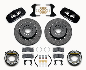 Wilwood AERO4 WCCB Carbon-Ceramic Big Brake Rear Parking Brake Kit Parts Laid Out - Black Powder Coat Caliper - Plain Face Rotor