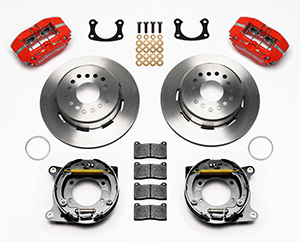 Wilwood Dynapro Lug Mount Rear Parking Brake Kit Parts Laid Out - Red Powder Coat Caliper - Plain Face Rotor