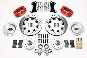 Wilwood Dynapro Dust-Boot Big Brake Front Brake Kit (Hub) Parts Laid Out - Red Powder Coat Caliper - SRP Drilled & Slotted Rotor