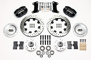 Wilwood Dynapro Dust-Boot Big Brake Front Brake Kit (Hub) Parts Laid Out - Black Powder Coat Caliper - SRP Drilled & Slotted Rotor