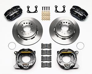 Wilwood Dynapro Dust-Boot Rear Parking Brake Kit Parts Laid Out - Black Powder Coat Caliper - Plain Face Rotor