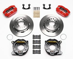 Wilwood Dynapro Dust-Boot Rear Parking Brake Kit Parts Laid Out - Red Powder Coat Caliper - Plain Face Rotor