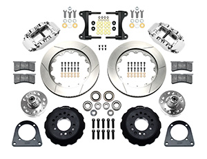 Wilwood Forged Narrow Superlite 6R Big Brake Front Brake Kit (Hub) Parts Laid Out - Polish Caliper - GT Slotted Rotor