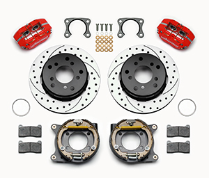 Wilwood Dynapro Lug Mount Rear Parking Brake Kit Parts Laid Out - Red Powder Coat Caliper - SRP Drilled & Slotted Rotor