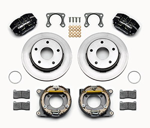 Wilwood Dynapro Lug Mount Rear Parking Brake Kit Parts Laid Out - Black Powder Coat Caliper - Plain Face Rotor