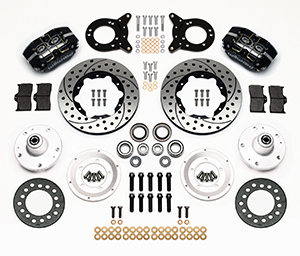 Wilwood Dynapro Dust-Boot Pro Series Front Brake Kit Parts Laid Out - Black Powder Coat Caliper - SRP Drilled & Slotted Rotor