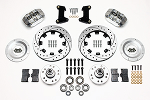 Wilwood Dynapro Dust-Boot Big Brake Front Brake Kit (Hub) Parts Laid Out - Polish Caliper - SRP Drilled & Slotted Rotor