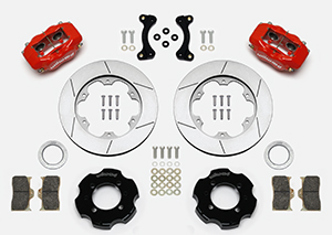 Wilwood Forged Dynalite Big Brake Front Brake Kit (Hat) Parts Laid Out - Red Powder Coat Caliper - GT Slotted Rotor