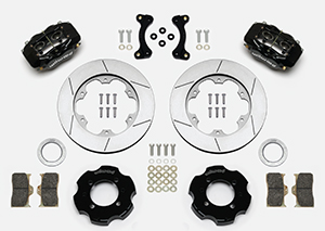 Wilwood Forged Dynalite Big Brake Front Brake Kit (Hat) Parts Laid Out - Black Powder Coat Caliper - GT Slotted Rotor