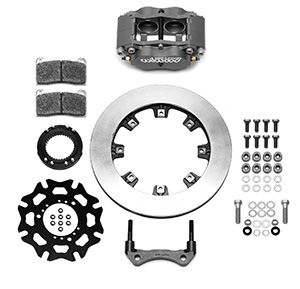 Wilwood Billet Narrow Dynalite Radial Mount Sprint Inboard Brake Kit Parts Laid Out - Nickel Plate Caliper - Plain Face Rotor